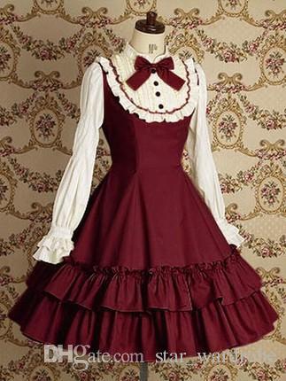 Cheap Vermeil/Deep Blue/Black Cotton Classic Lolita Dress Long Sleeves Sweet Princess Dress For Women