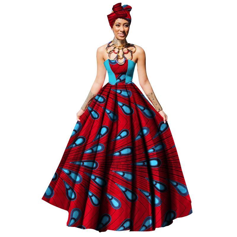 a258ed9a1c86 Vestidos africanos para mujer Dashikis Imprimir Vestido de fiesta Maxi y  sin tirantes Mujeres Ropa africana Vestido largo de cera