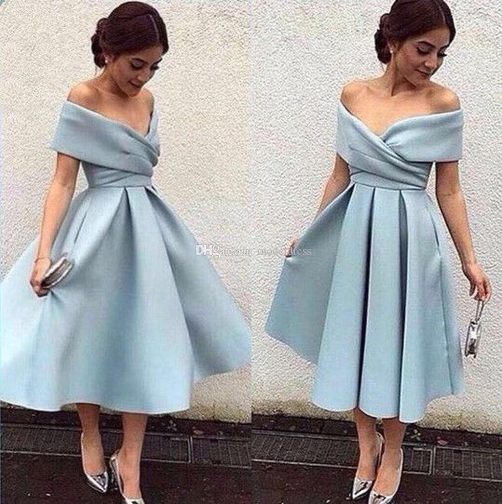 53c2bde29ed Off Shoulder Tea Length Bridesmaids Dresses 2018 Pleats A Line Satin Short Wedding  Guest Gowns Maid Of Honor Dress Plus Size Customized 2018 Canada 2019 ...