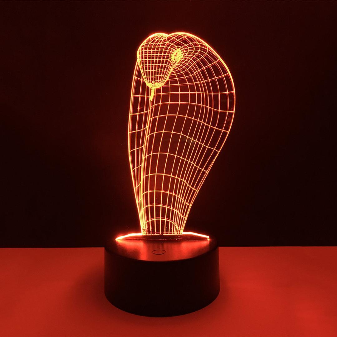 Großhandel Schlange 3d Led Nachtlicht 7 Farbe Dimmen Illusion ...