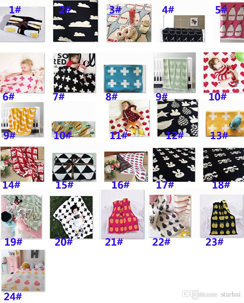 90*100cm Cotton Knitted Blanket Baby Newborn Cartoon Air Condition Blanket Thin Quilts Children Bed Sofa Sheet Blankets WX9-230