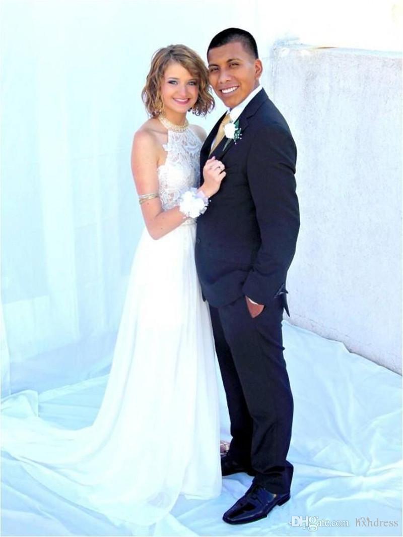 2019 New Sexy Cheap Julie Vino Summer A line Lace Wedding Dresses Halter Backless vestido de novia Split Beach Bridal Gowns