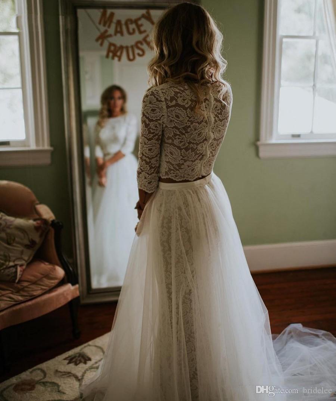 0898e14c3918 Vintage 3/4 Langarm-Sheer Lace Top Zweiteilige Brautkleid A Line Lange  Brautkleider mit Tüll Layer Rock Custom Made