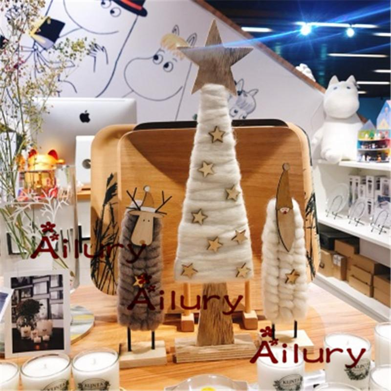 3pcs Felt Simulation Wooden Christmas Tree Christmas Deer Santa Claus Holiday Props Display Decoration Ornaments Christmas Gifts
