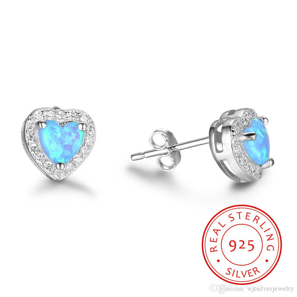 d68019dc5 Real Sterling Silver 925 Classic Earrings Heart Shape Light Blue ...