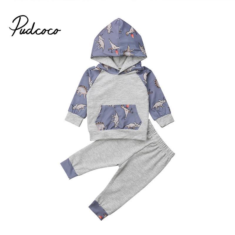 244b8f797 pudcoco Autumn Newborn Baby Boy Dinosaur Clothes Set pocket Cotton Hooded  Tops +Pants Leggings Outfits Boys Clothing Sets