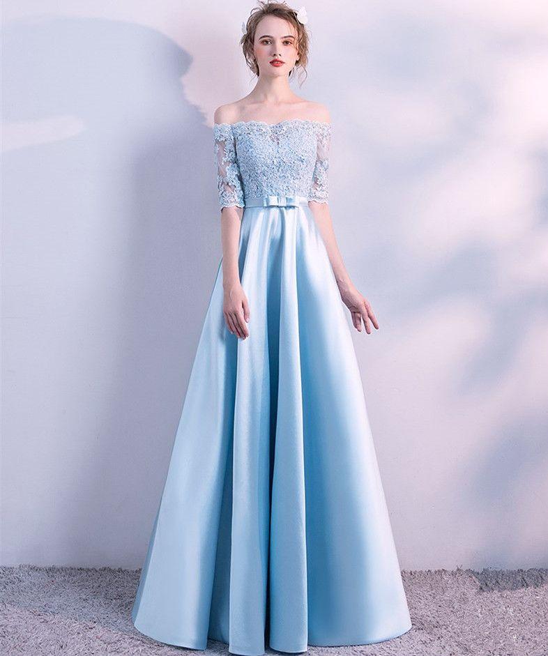d841a666dd2c3 Satın Al Kapalı Omuz Saten Abiye Bebek Mavi 2018 Yarım Kollu Uzun Abiye Kat  Uzunluk Balo Elbise, $81.16 | DHgate.Com'da