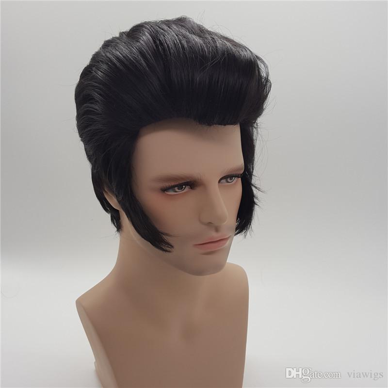 Elvis Presley Frisur Kurze Perucken Fur Manner Cosplay Naturliche Synthetische Haar Perucas Perucke Peruca Pruiken Peruk Xt861