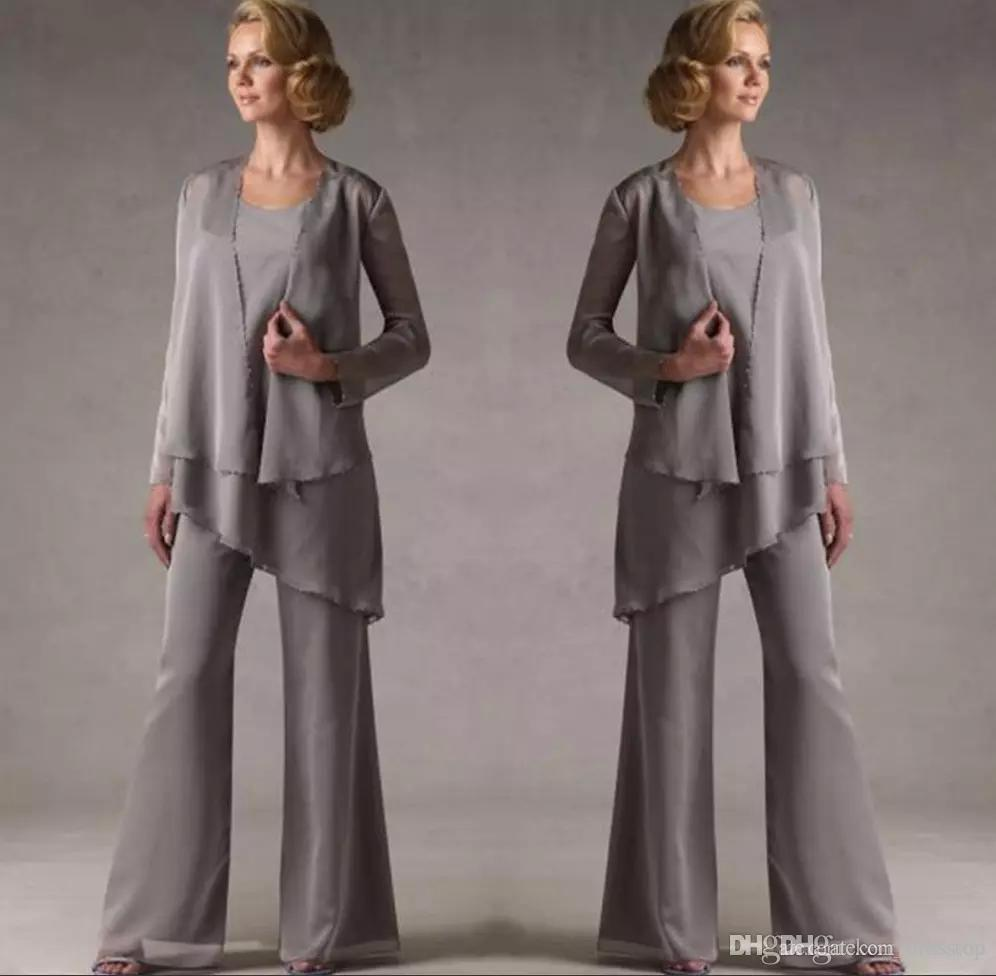 Mother Of The Groom Grey Chiffon Bridal Mother Bride Pant Suits With Jacket Women Evening Pant Suits Long Sleeve Evening Dresses