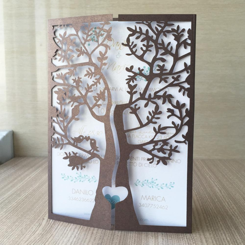 20pcs Laser Cut 250gsm Pearl Paper Christening & Baptism Greeting Blessing card tree with bird Design Wedding Invitation Cards