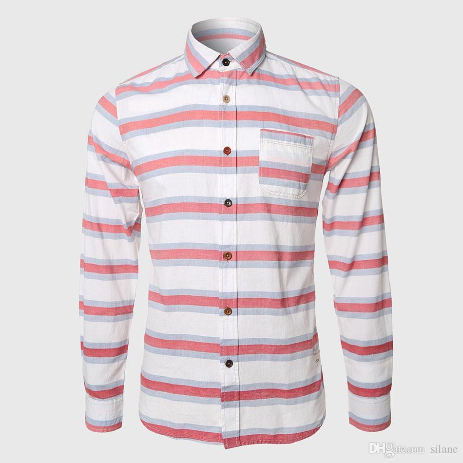 b5b64390baa 2019 Wholesale Men Striped Shirts Long Sleeve Hawaiian Shirts Casual Man  Cotton Blend White Blue Stripe Work Japanese Stun Chest Pockets From  Silane