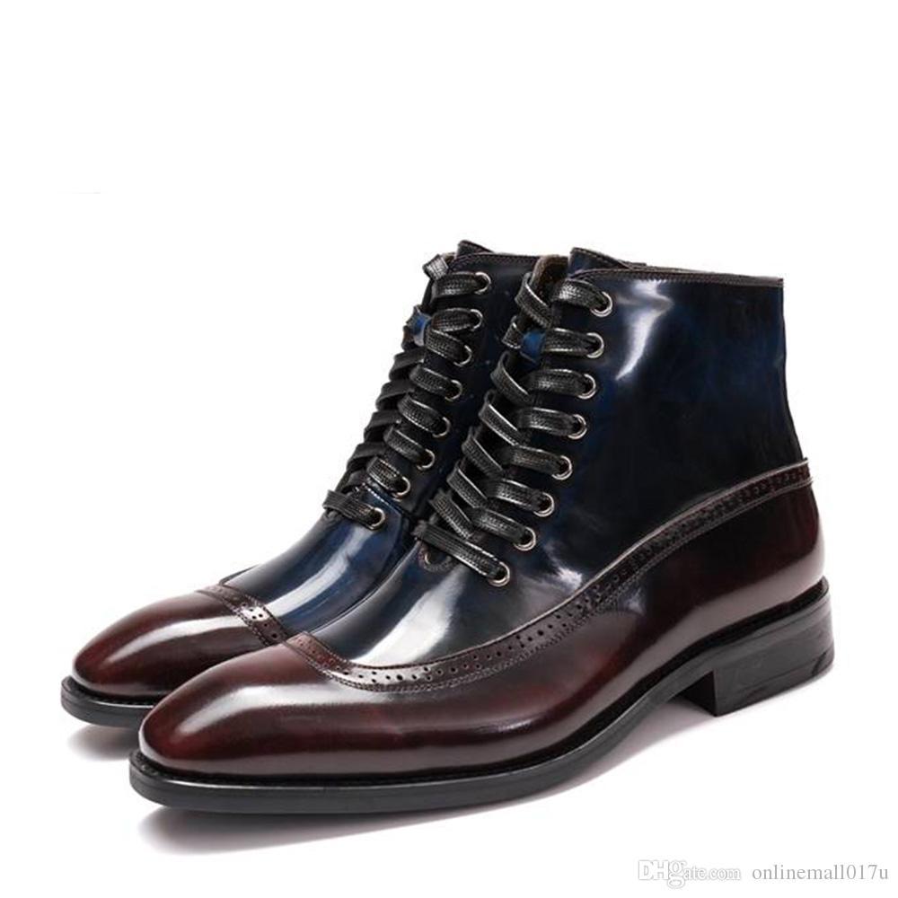 Compre Patchwork De Cuero Para Hombre Brillante Martin Boots Botines Con  Cordones Cuadrados Botas De Vestir De Estilo Italiano Goodyear Welted  Cowboy A ... 9f65e8476e0d