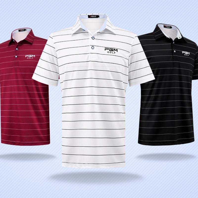 77a496a4 2019 Men Striped Short Sleeve Golf T Shirts Tops Sportwear Polo Male Shirts  Breathable Summer Thin Cloth Mens Trainning Shirt Elastic From Rainlnday,  ...