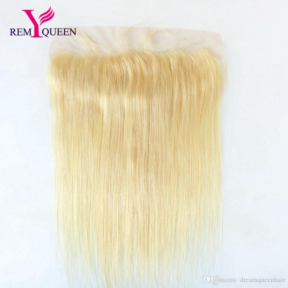 Remy Queen 10A Brazilian 613 Honey Blonde Straight 13x4 inch Lace Frontal Ear To Ear Swiss Lace Natural Hairline With Baby hair