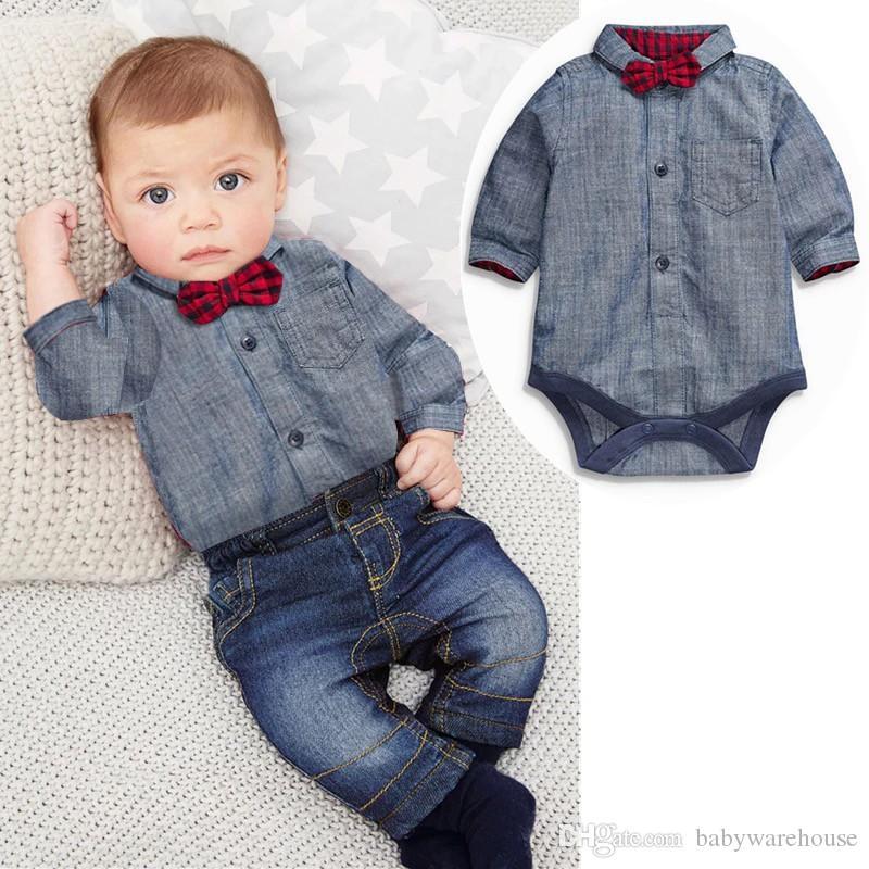 3dc3ad1a5 Baby Boy Clothes Newborn Kids Clothing Sets Cotton Gentleman Suit Grey  Romper with Bow + Jeans 2PCS Boutique Boys Suit Toddler Boys Clothing