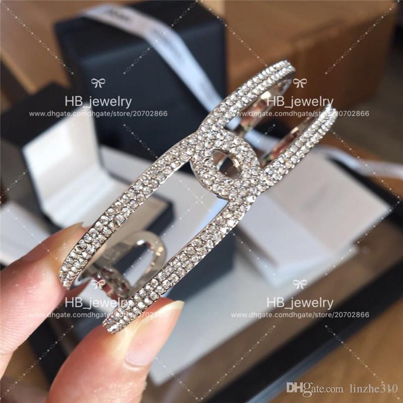 Yeni Moda tasarım CH Tam matkap açık bilezik Lüks C Marka Tarafından Kadınlar için Yıldönümü Hediye Düğün Takı için kutu ile