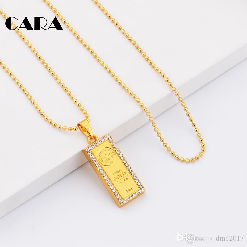 CARA 2017 New Fashion Summer square 999 fine gold color dog tag necklace rhinestones ball chain necklace gift men women CAGF0135