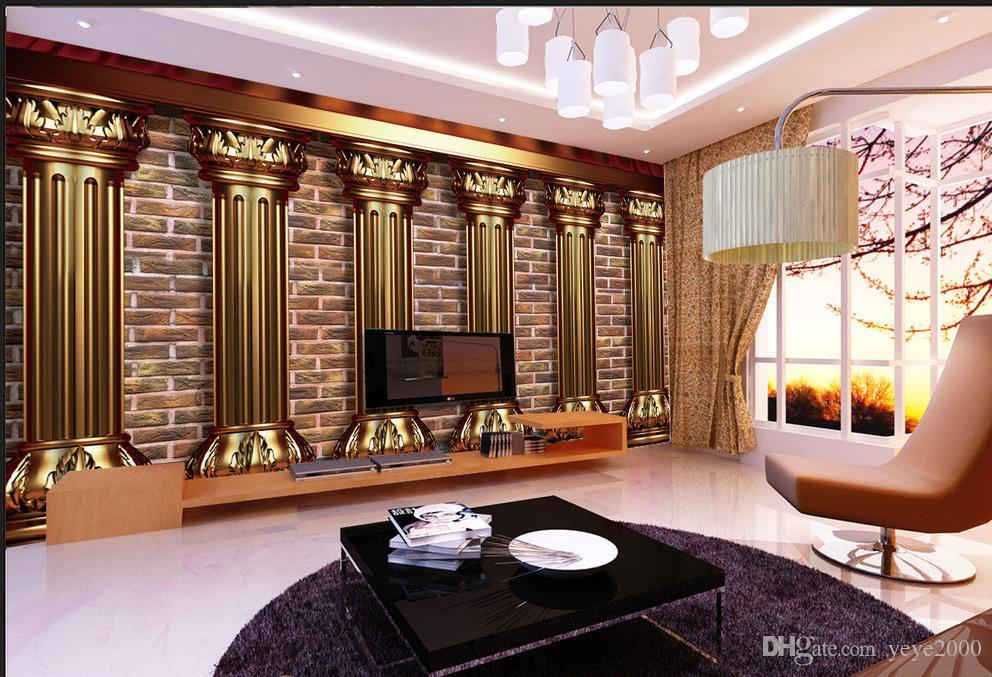 wallpaper for children room European distinguished 3D gold pillar background wall beautiful scenery wallpapers