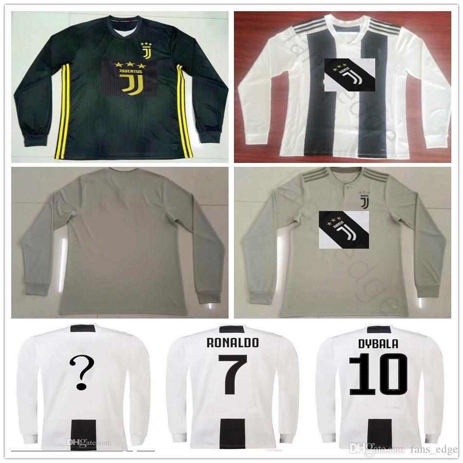 18 19 Juventus Camiseta De Fútbol De Manga Larga Para El Hogar 7 RONALDO 10  DYBALA MANDZUKIC PJANIC Bonucci Personalizar El Tercer Visitante 2019  Uniforme ... 54f60cb812561