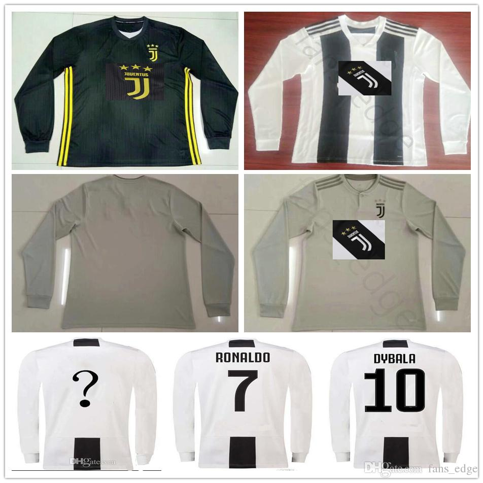 finest selection 10453 54cb2 18 19 Juventus Long Sleeve home Soccer Jersey 7 RONALDO 10 DYBALA MANDZUKIC  PJANIC Bonucci Customize away third 2019 football Shirt uniform