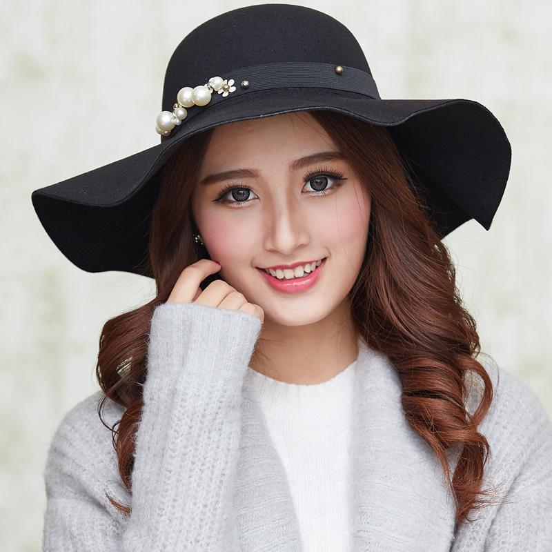 Autumn And Winter New Wool Big Brim Fedora Hat Casual British Pearl ... c89f3db33b2