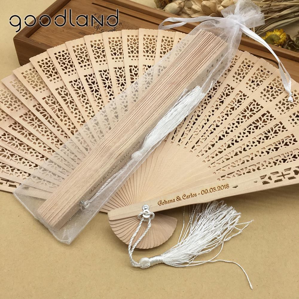 Free Shipping 30pcs Original Vintage Folding Wooden Carved Hand Fan in Gift Bags Wedding Gifts for Guests