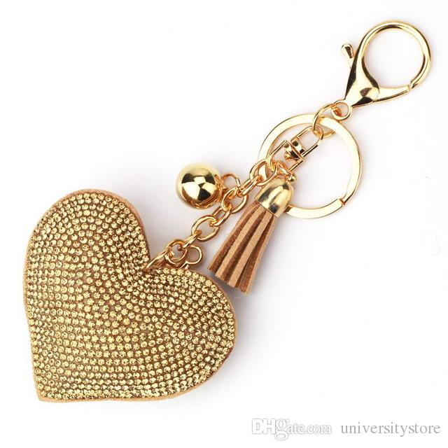 f63501a0792d 2018 Fashion Pave Rhinestone Heart Key Chains Bags Accessories Women  Leather Tassel Keychains Key Rings Cheap Jewelry Wholesale Online with   52.7 Piece on ...