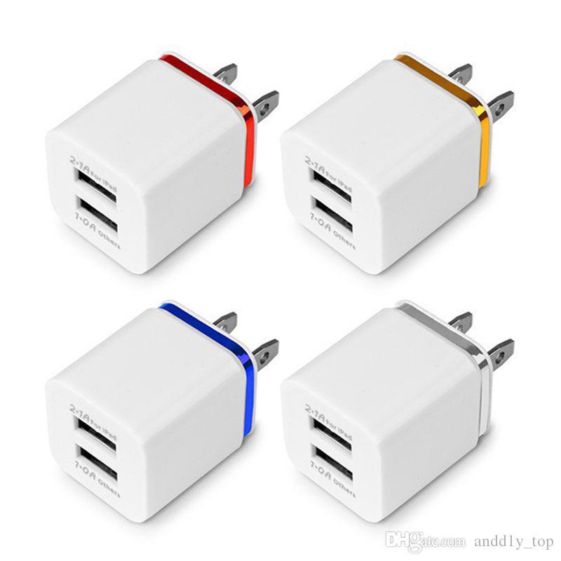 Dual USB parete Caricabatterie il Samsung S8 Nota 8 adattatore del caricatore della parete della spina 5V 2.1A metallo Travel Adapter US EU di alimentazione CA