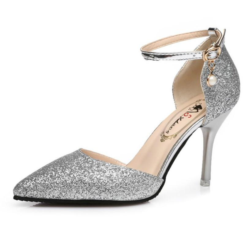 4474f8f71bfe Womens High Heels Sandals Glitter Pumps Wedding Shoes Hollow Out Sexy  Pointy Toes Stiletto Heel Pearl Dectoration White Shoes Silver Sandals From  Gongfu119