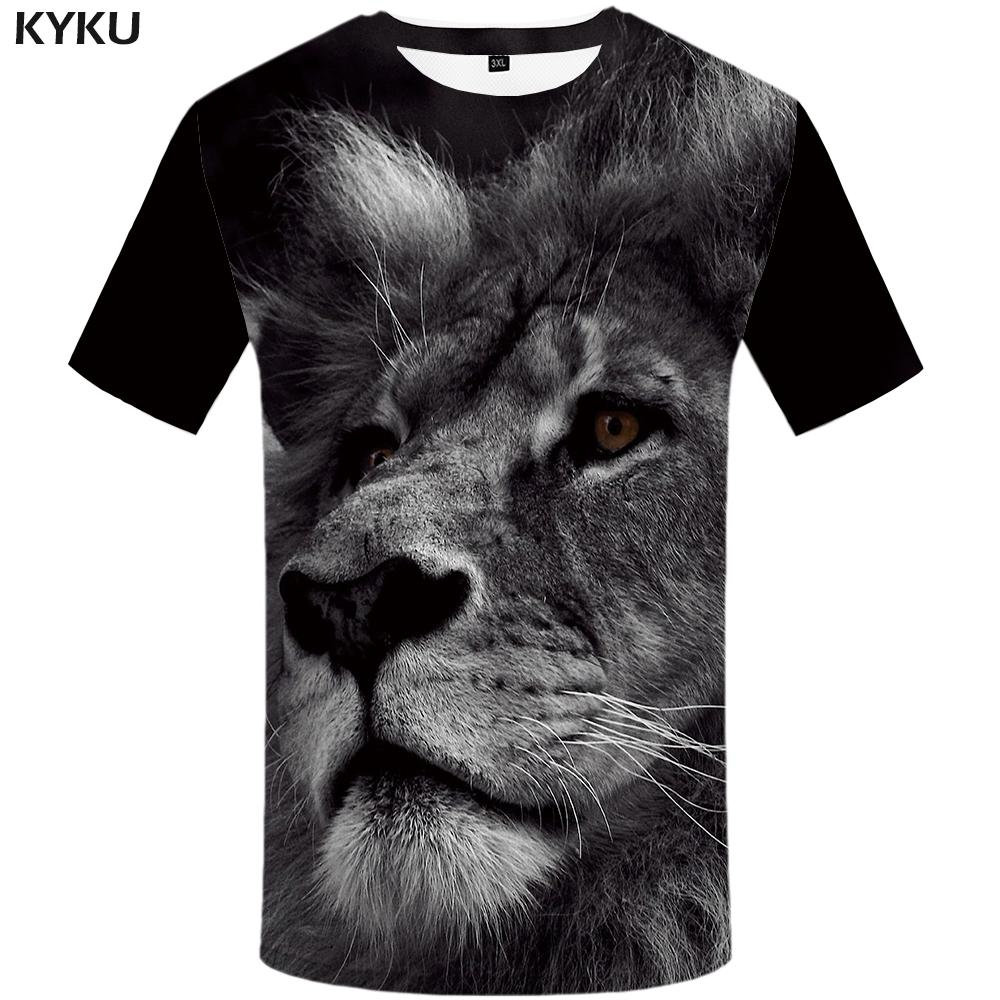 5b69f311 KYKU Lion T shirt Animal 3d T-shirt Design Mens Clothing Plus Size Funny  Tshirt Print Shirts Men 2018 Hip hop Fashion