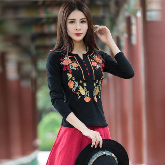6275cfa616 Compre Barato Roupas China Camisas Femininas 2018 Mulheres Estilo Mexicano  Étnico Manga Comprida Gola Bordado Blusa Camisa AF558 De Beenlo