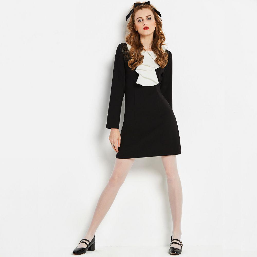 2207f6bd80d8 2019 Sisjuly White Ruffle Neck Dress Black Elegant Work Dress Long ...