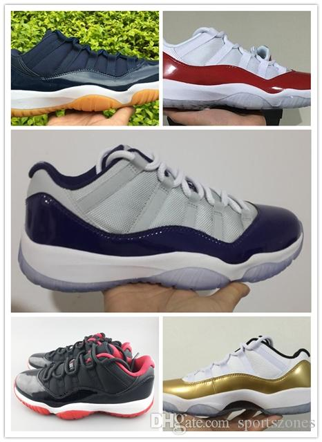 a4f3e008f85c75 2018 Fashion 11s 11 LOW Metallic Gold Gamma Blue Legend Blue Grey Cherry Varsity  Red Bred Concord Size 41 47 Basketball Mens Shoes From Sportszones
