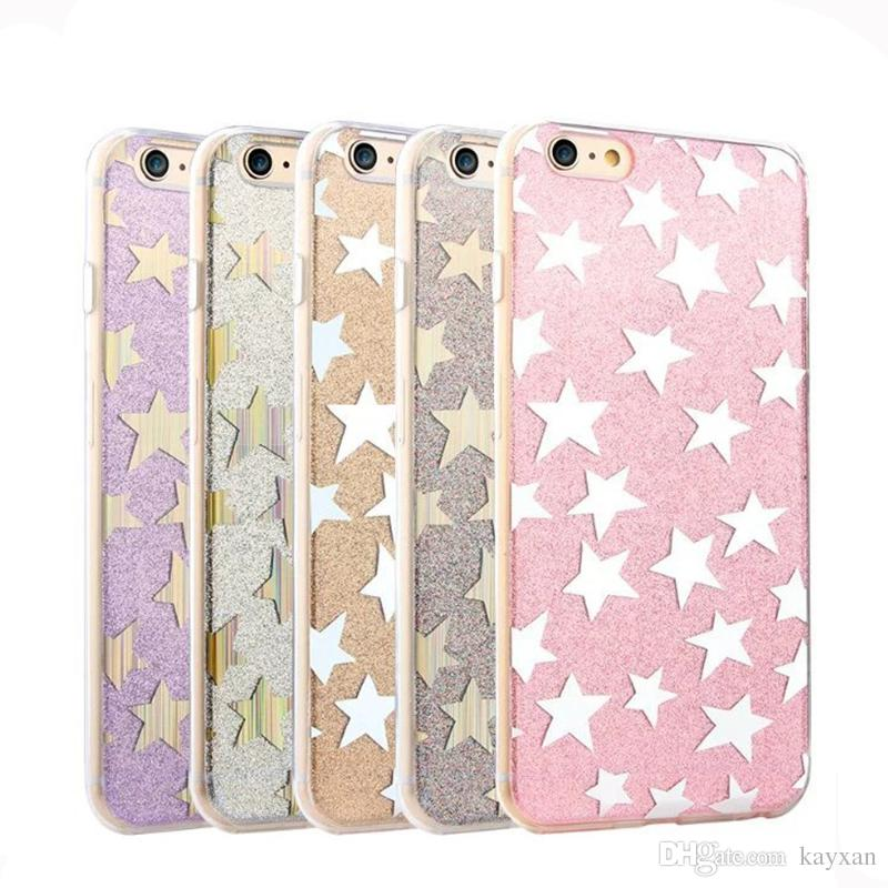 super popular f925d 65da6 Cell Phone Cover For iphone6S Simple mobile phone shell for Apple iphone6s  Plus Star Electroplated Flash Phone Case 5S SE