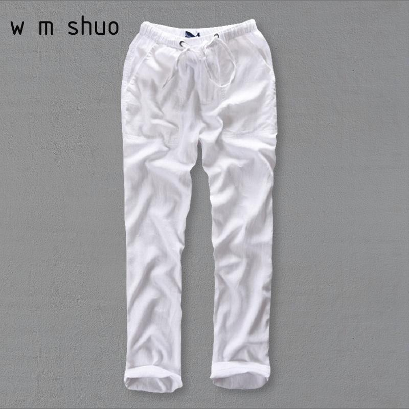 b8d6d3837940 2019 Men S Summer Casual Pants Natural Cotton Linen Trousers White Linen  Elastic Waist Straight Joggers Pants Y234 Y1892503 From Tao01