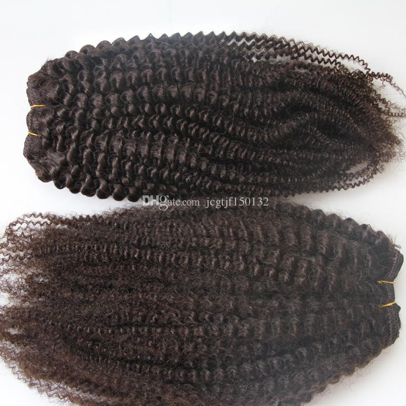 Mongolian Afro Kinky Curly Hair Extension Human Hair Weave Bundles 10-26inch Natural Color 200g Remy Hair Wholesale