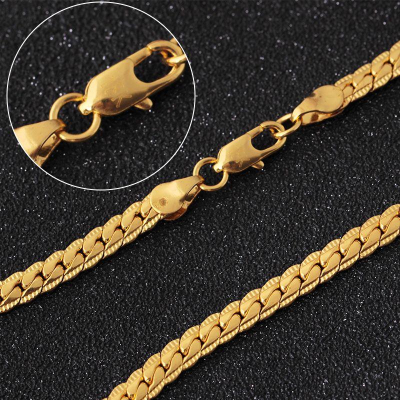 334f638178da Compre Cadenas De Oro Para Hombres Con Relieve Color Oro Al Por Mayor  Trenzado Singapur DIY Collar De Cadena Larga Para Mujeres Hombres Joyería Para  Hombre ...