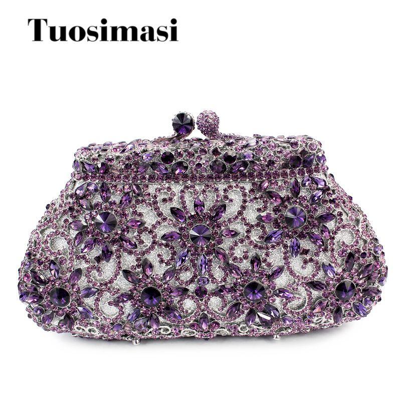 c6a49e358f Luxury Crystal Evening Clutch Bag Purple Elegant Women Clutch Handbag Lady  Wedding Purse Party Rhinestones Chain Handbag Bags Handbag Sale Cheap  Designer ...