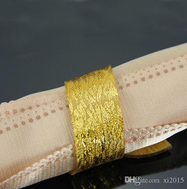 500 adet Narin Gümüş Altın Akrilik Peçete Halkaları Ev Otel Düğün Ziyafet Süsleme Favor Için Serviette Tutucu