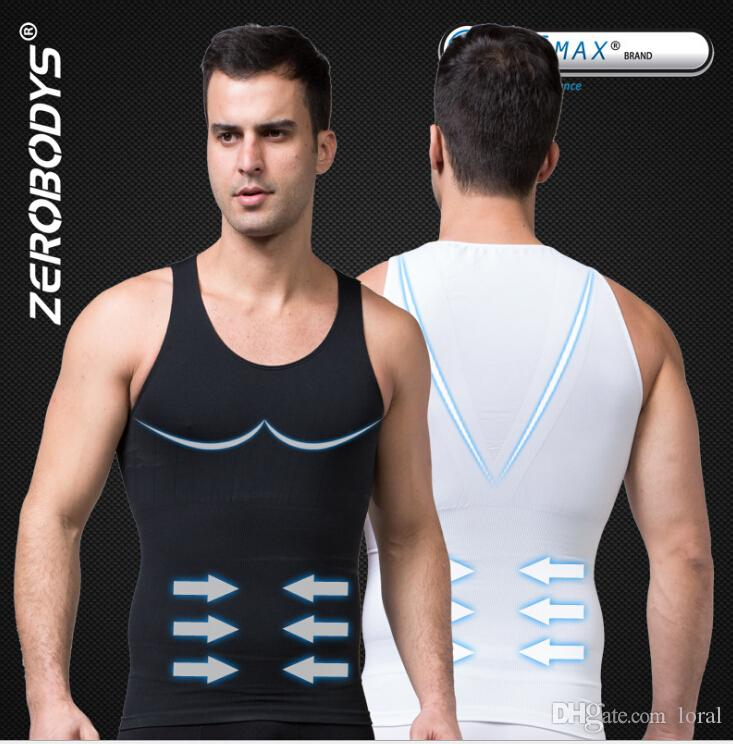 ZEROBODYS Slim Incredibile Mens Body Vest Absorbant Biancheria intima Uomo Body Shapers V-Shaped Pull Back Correct Posture Vest