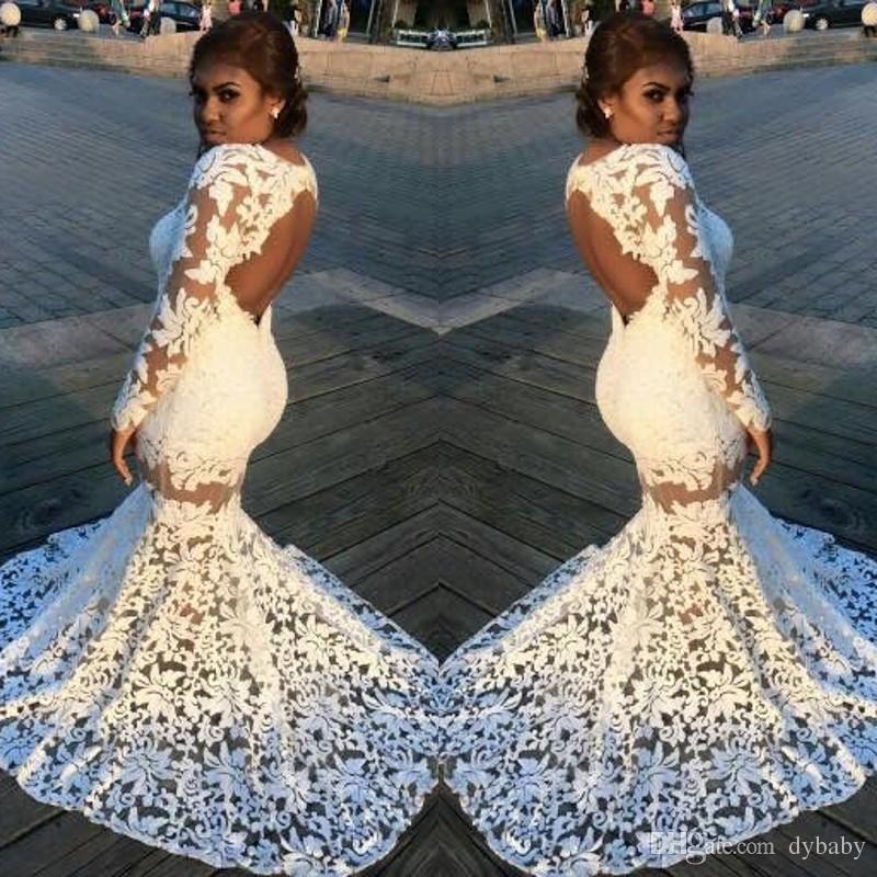 4bfa08f0bb68 Acquista 2018 Sexy Plus Size Sirena Bianco Abiti Da Ballo In Pizzo Nero  Ragazza Formale Abiti Da Festa Maniche Lunghe Abiti Da Sera A  153.49 Dal  Dybaby ...