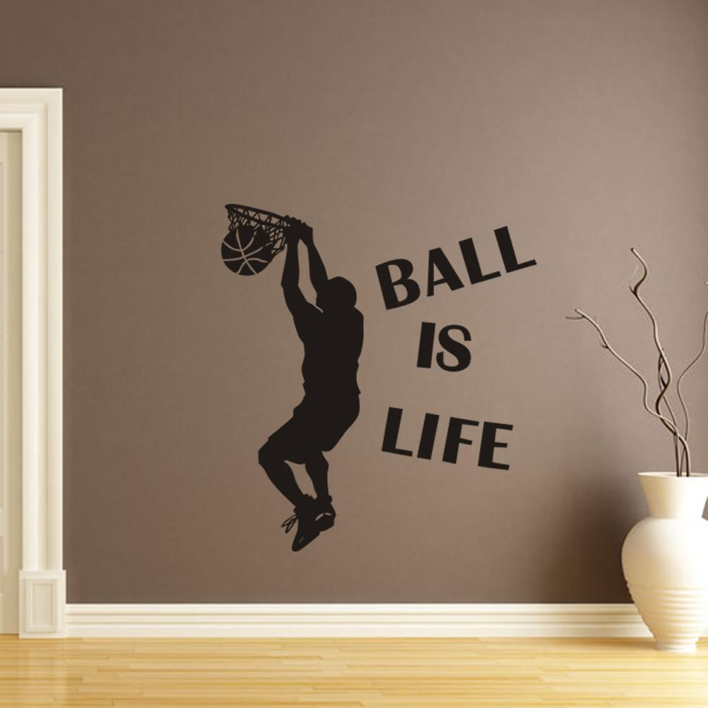 Hot Sale Wallpaper Ball Is Life Sport Playing Basketball Wall Sticker For Kids Rooms Mural Decor Decal Removable New Stickers