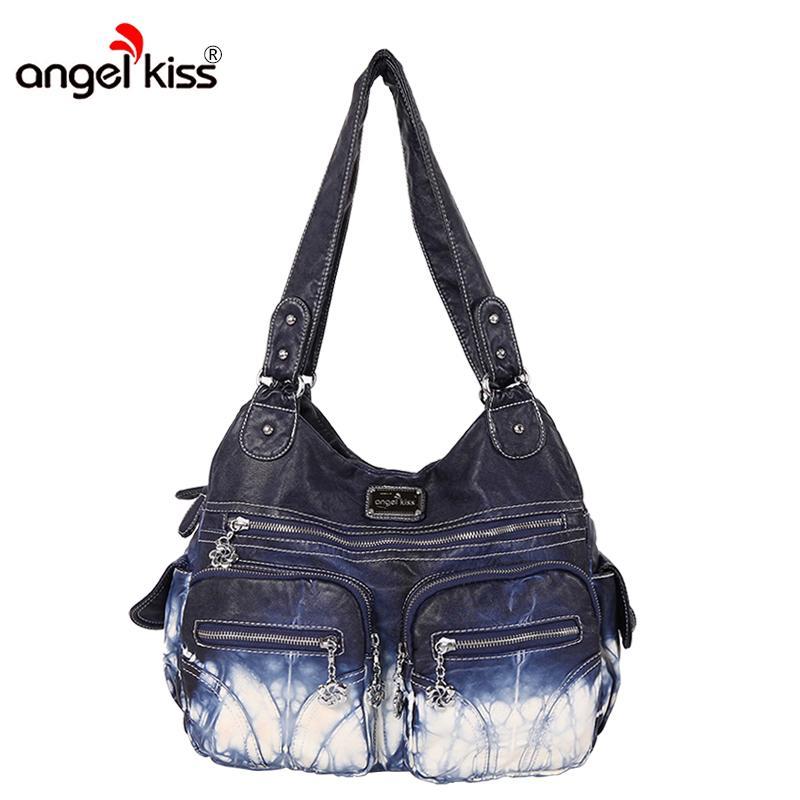 bebb77c2a2 Angel Kiss Handbags Femmes Sacs Designer Célèbre Marque Lavé PU Leatther Sac  Femme Épaule Sacs À Main Classique Grande Capacité