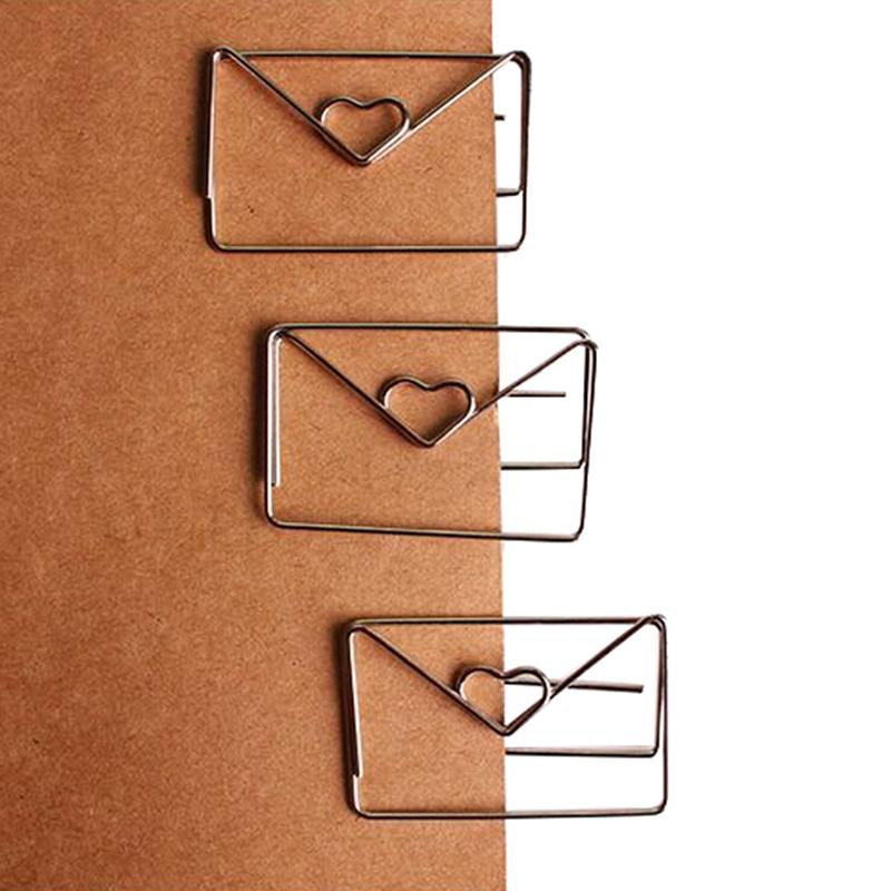 Office Binding Supplies 30mm*46mm Rose Gold Color Heart Shape Paper Clip Coating Platingcute Bookmark Tag Clip Office & School Supplies