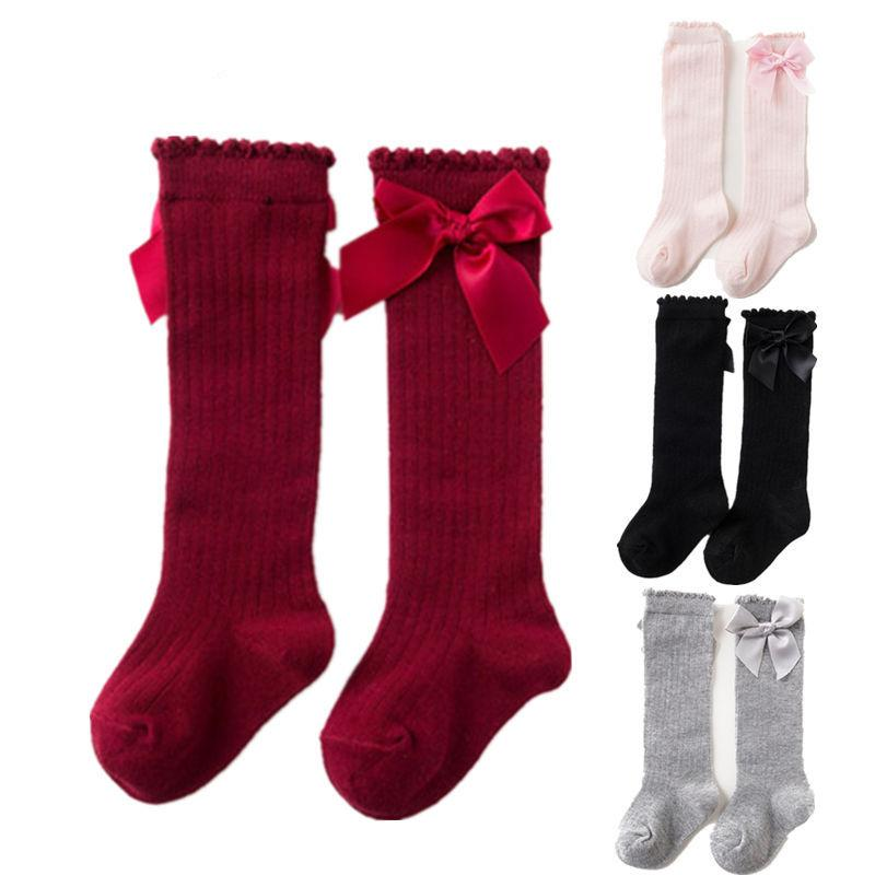 19272a4540a Baby Girls Socks Cute Princess Socks Knee High Bows Cotton Baby Long Tube  Booties Striped Kids Sock Meias Infantil 0 4Y Socks Boot Socks From  Qwinner