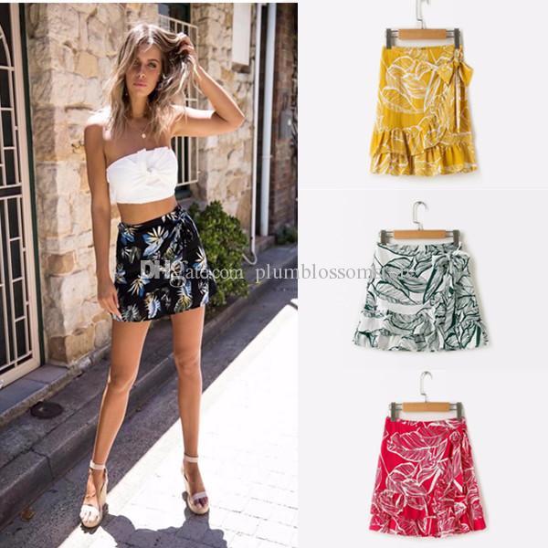 d04bdcd416ab 2019 6 Designs Boho Floral Print Wrap Skirt Women Tie Up Ruffle Sexy Short Bohemian  Skirt Skinny Black Beach Summer Holiday Dress Female 2018 From ...