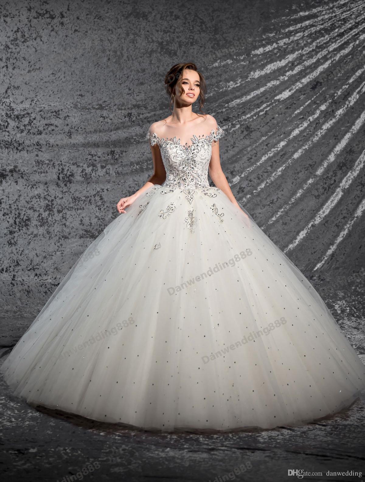 Beauty Ivory Tulle Off Shoulder Applique A-Line Wedding Dresses Bridal Pageant Dresses Wedding Attire Dresses Custom Size 2-16 ZW606003
