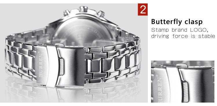 Lujo famoso diseñador HOMBRES con estilo Curren8023 Japón Movt acero reloj de pulsera nueva inmersión reloj inoxidable estilo deportivo militar relojes para hombre