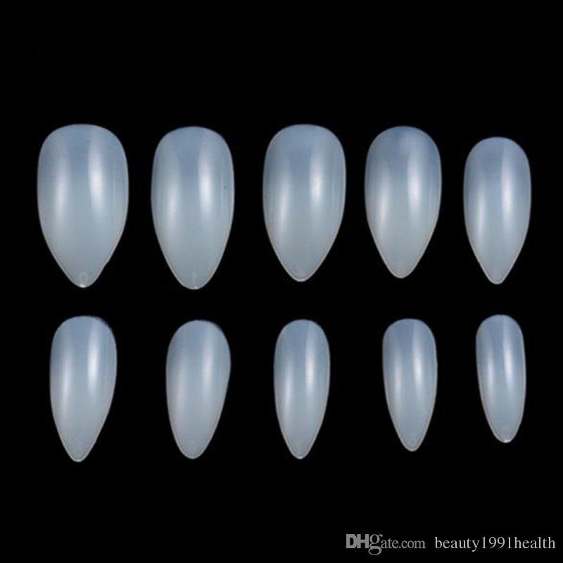 فن الأظافر الطبيعية اللون الأبيض غطاء كامل البيضاوي 10 الحجم شارب نهاية كاذبة الأظافر نصائح مانيكير الأظافر الاصطناعية صالون تجميل الأظافر الزائفة