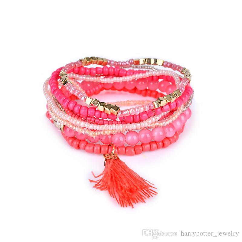 Nouveau Bohème Plage Multicouche Cristal Perles Gland Charme Bracelets Bracelets Pour Femmes Cadeau Poignet Mala Bracelet drop ship 320116
